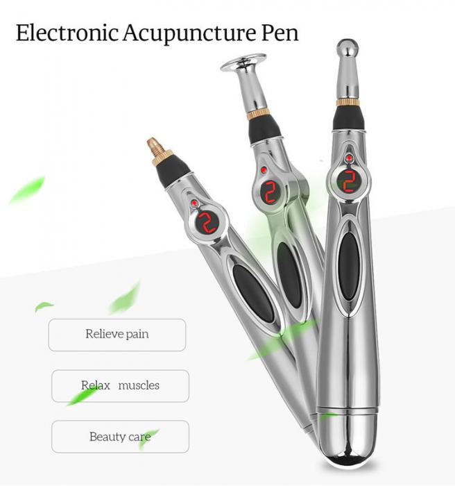 Aparat pentru masaj, acupunctura fara ace, cu 2 capete si afisaj LED Massager Pen [3]