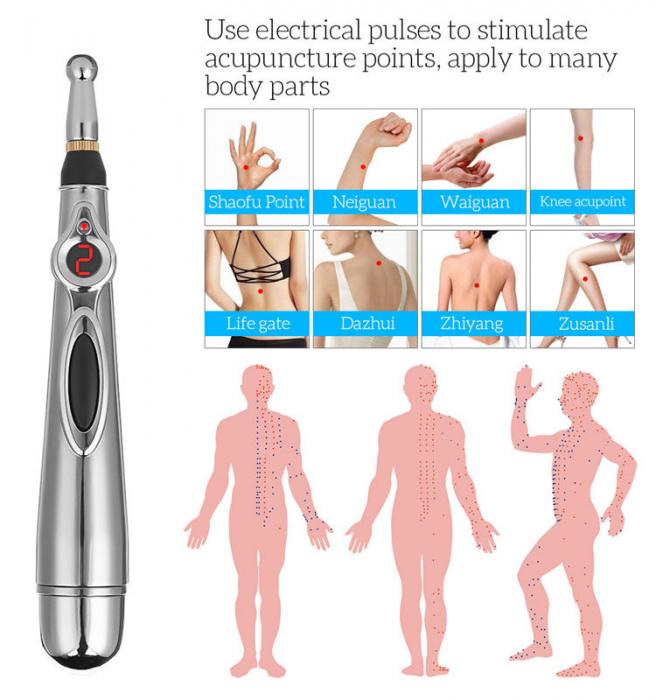 Aparat pentru masaj, acupunctura fara ace, cu 2 capete si afisaj LED Massager Pen [11]