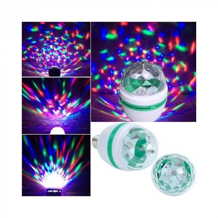 Bec rotativ disco Full Color LED mini party consum 3W [7]