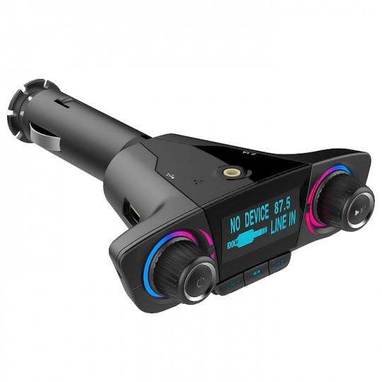 Car kit auto MP3 Bluetooth cu functie modulator FM wireless, incarcare dual USB si ecran LED 1.3 inch, negru [0]