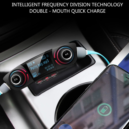 Car kit auto MP3 Bluetooth cu functie modulator FM wireless, incarcare dual USB si ecran LED 1.3 inch, negru [3]
