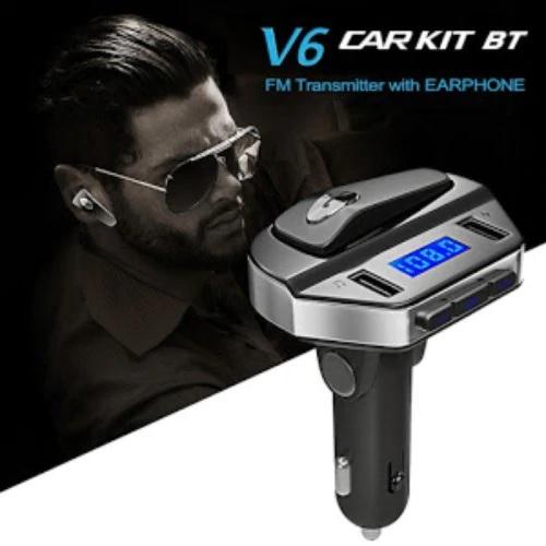 Car kit modulator MP3 V6, handsfree, 12 V, 2 x USB, casca bluetooth [1]