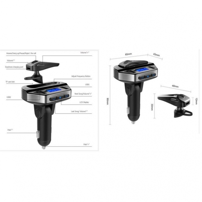 Car kit modulator MP3 V6, handsfree, 12 V, 2 x USB, casca bluetooth [5]