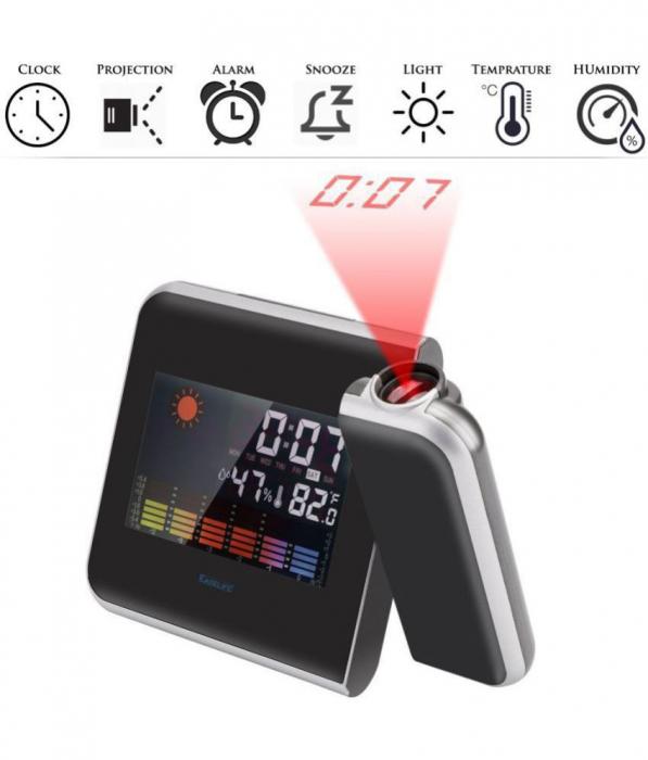 Ceas cu calendar, alarma, temperatura, umiditate si proiectie, ecran color cu iluminare, DS-8190 [2]