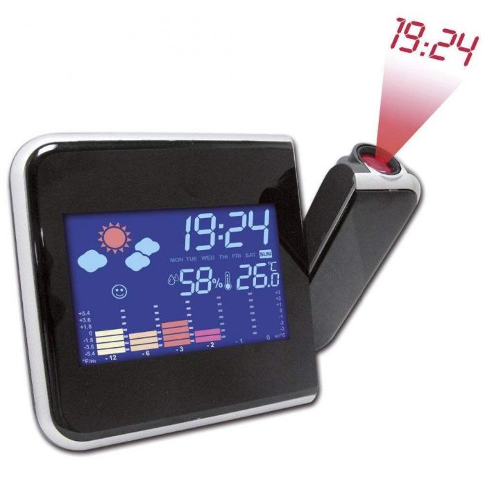 Ceas cu calendar, alarma, temperatura, umiditate si proiectie, ecran color cu iluminare, DS-8190 [3]