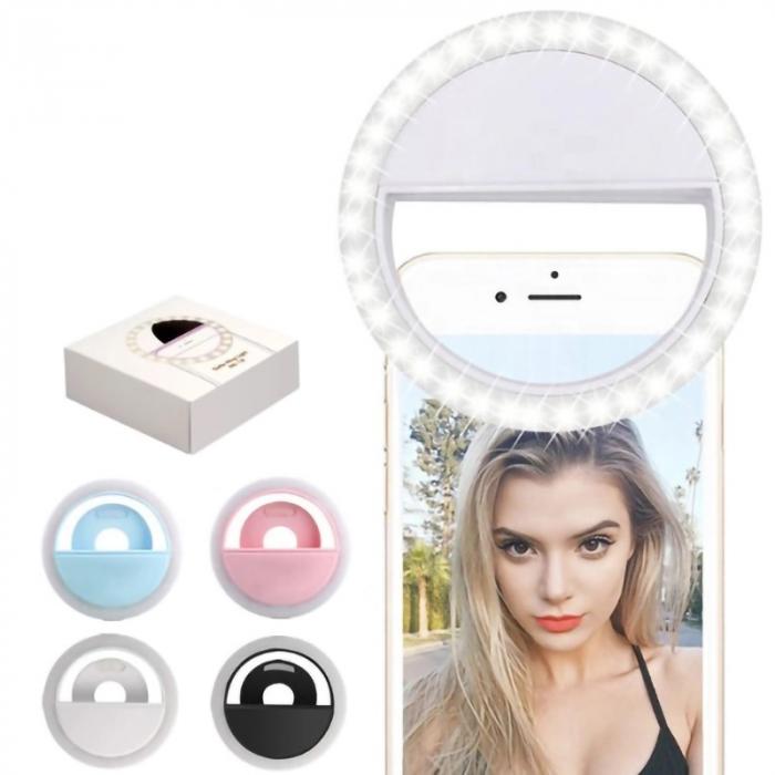 Inel luminos pentru selfie, Accesoriu LED tip clips pentru telefon [0]