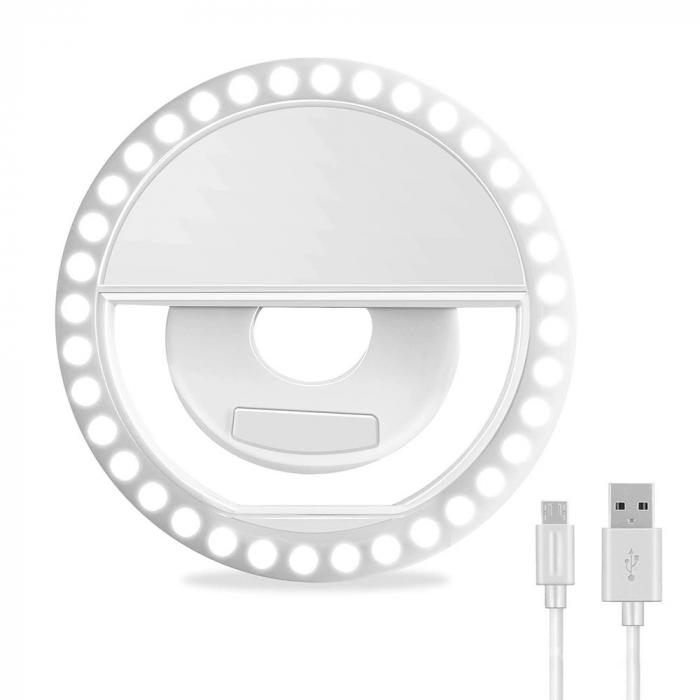 Inel luminos pentru selfie, Accesoriu LED tip clips pentru telefon [1]