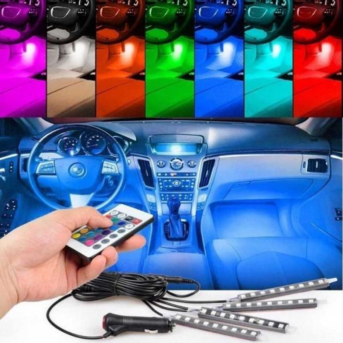 Kit banda LED RGB 4 benzi autoadezive cu telecomanda si functie sonora 12 leduri [2]