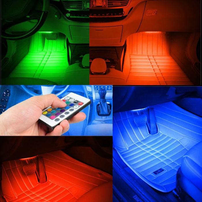 Kit banda LED RGB 4 benzi autoadezive cu telecomanda si functie sonora 12 leduri [3]