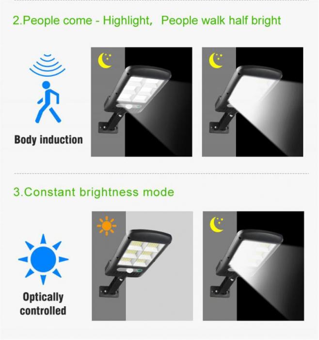 Lampa solara 6 celule, 120 LED-uri COB, cu telecomanda, 30 W [4]
