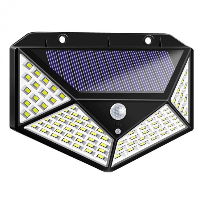 Lampa de exterior, solara, 100 LED-uri, 2200 mAh, cu senzor de miscare [0]