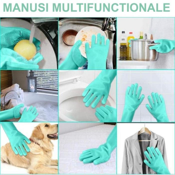 Manusi silicon cu perii pentru menaj, multifunctionale [8]