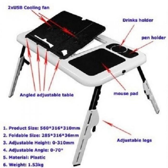 Masa laptop E-Table cu 2 ventilatoare si picioare pliabile [12]
