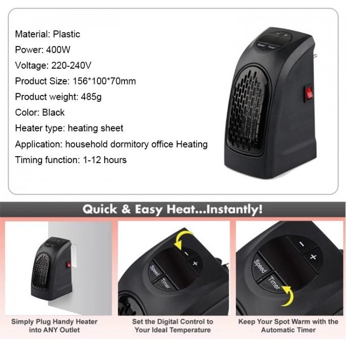 Mini aeroterma electrica digitala cu led-uri Handy Heater 400W [7]