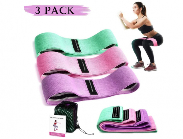 Set benzi elastice fitness din bumbac si latex, 3 nivele de rezistenta, multicolore [0]