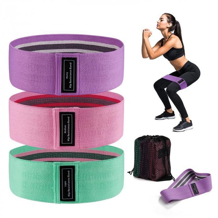 Set benzi elastice fitness din bumbac si latex, 3 nivele de rezistenta, multicolore [4]