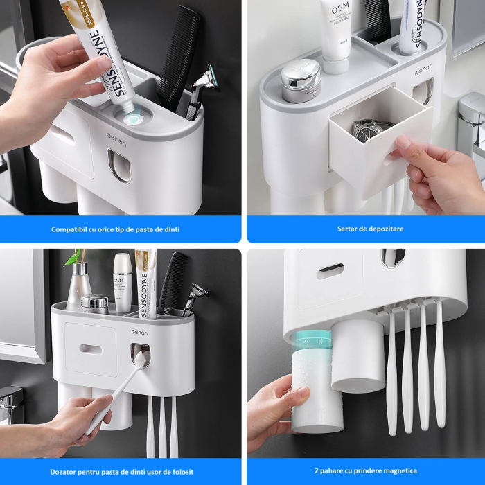 Suport pentru 4 periute de dinti cu 2 pahare magnetice si dispenser pasta de dinti [1]