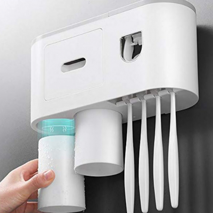 Suport pentru 4 periute de dinti cu 2 pahare magnetice si dispenser pasta de dinti [2]