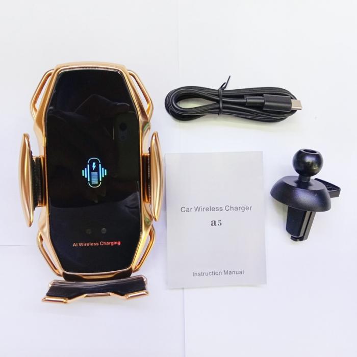 Suport pentru telefon auto A5, cu incarcare wireless si fixare cu senzor, 10W [5]
