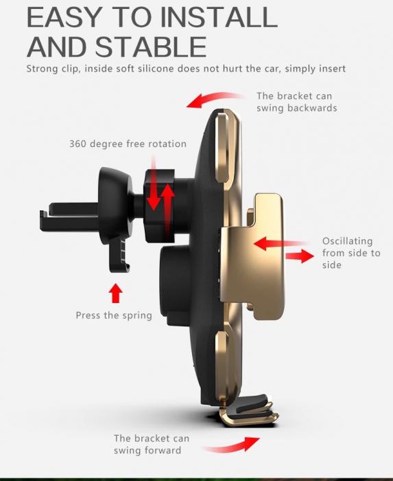 Suport pentru telefon auto A5, cu incarcare wireless si fixare cu senzor, 10W [8]