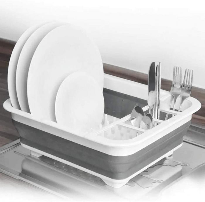 Suport pentru vase cu scurgator pliabil din silicon si plastic [1]