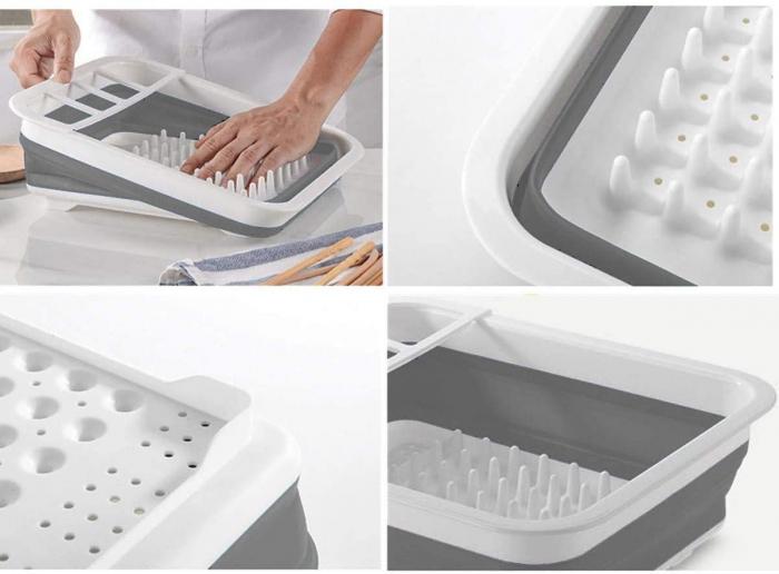 Suport pentru vase cu scurgator pliabil din silicon si plastic [2]