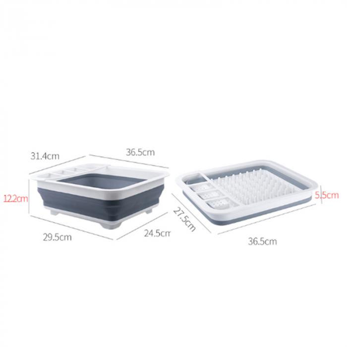 Suport pentru vase cu scurgator pliabil din silicon si plastic [6]