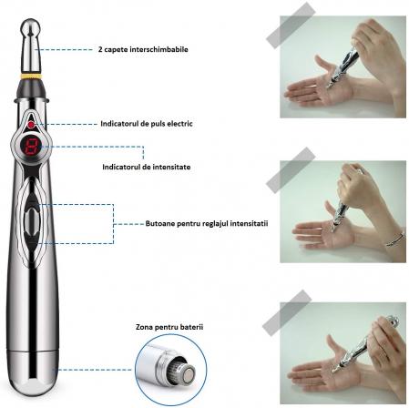 Aparat pentru masaj, acupunctura fara ace, cu 2 capete si afisaj LED Massager Pen [6]