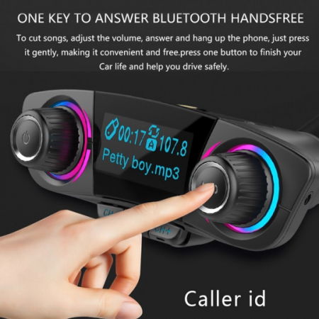 Car kit auto MP3 Bluetooth cu functie modulator FM wireless, incarcare dual USB si ecran LED 1.3 inch, negru [5]