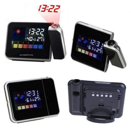 Ceas cu calendar, alarma, temperatura, umiditate si proiectie, ecran color cu iluminare, DS-8190 [0]
