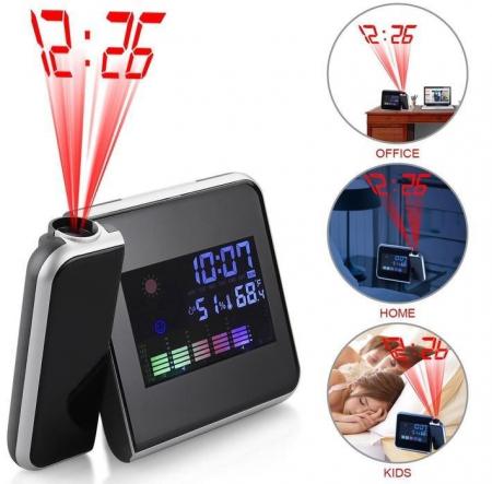 Ceas cu calendar, alarma, temperatura, umiditate si proiectie, ecran color cu iluminare, DS-8190 [1]