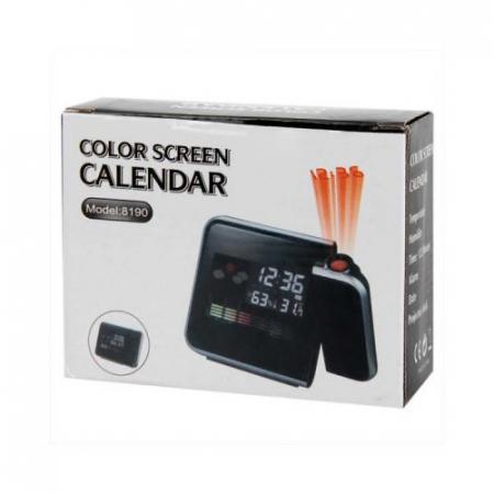 Ceas cu calendar, alarma, temperatura, umiditate si proiectie, ecran color cu iluminare, DS-8190 [5]