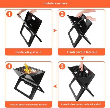 Gratar portabil, pliabil, X-Type BBQ Barbeque [2]