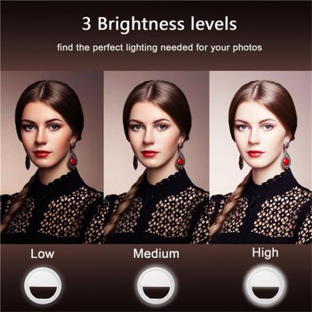 Inel luminos pentru selfie, Accesoriu LED tip clips pentru telefon [3]