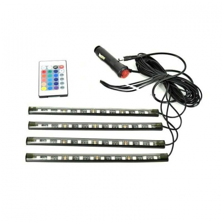 Kit banda LED RGB 4 benzi autoadezive cu telecomanda si functie sonora 12 leduri [0]