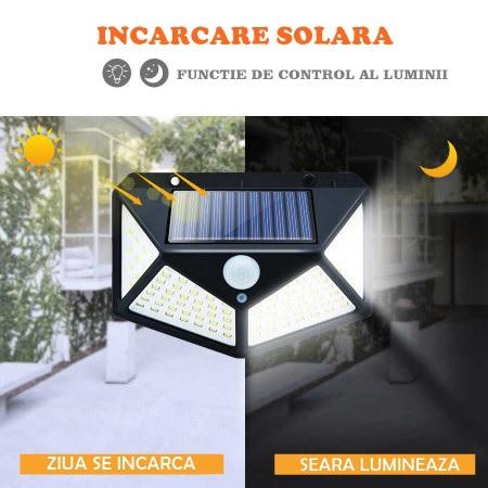 Lampa de exterior, solara, 100 LED-uri, 2200 mAh, cu senzor de miscare [1]