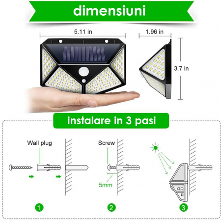 Lampa de exterior, solara, 100 LED-uri, 2200 mAh, cu senzor de miscare [2]