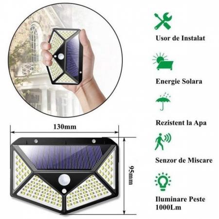 Lampa de exterior, solara, 100 LED-uri, 2200 mAh, cu senzor de miscare [3]