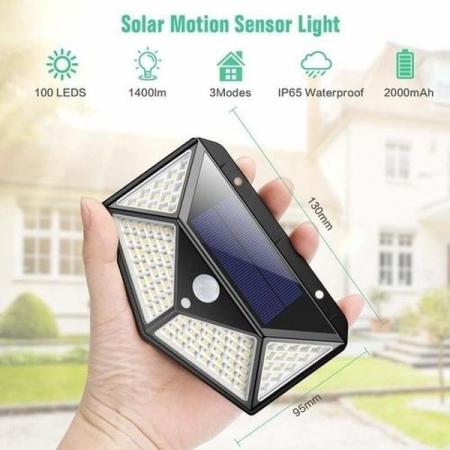 Lampa de exterior, solara, 100 LED-uri, 2200 mAh, cu senzor de miscare [8]