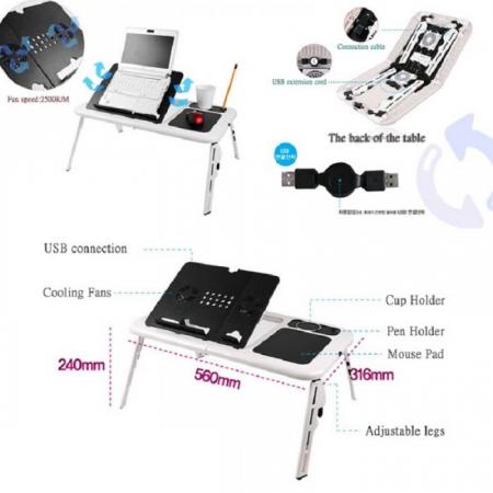 Masa laptop E-Table cu 2 ventilatoare si picioare pliabile [13]