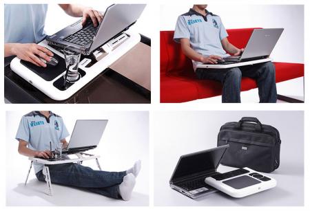 Masa laptop E-Table cu 2 ventilatoare si picioare pliabile [9]