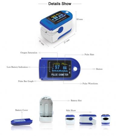 Pulsoximetru digital pentru deget, Albastru/Alb, Model X1906 [2]