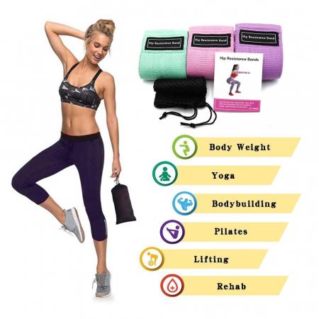 Set benzi elastice fitness din bumbac si latex, 3 nivele de rezistenta, multicolore [1]