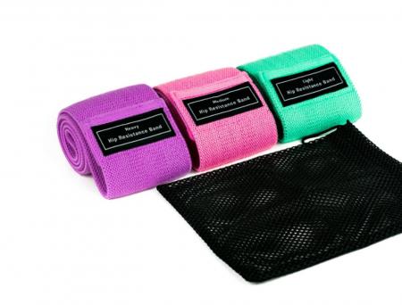 Set benzi elastice fitness din bumbac si latex, 3 nivele de rezistenta, multicolore [6]