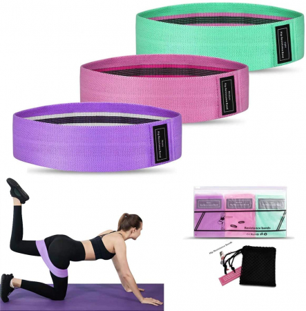 Set benzi elastice fitness din bumbac si latex, 3 nivele de rezistenta, multicolore [2]