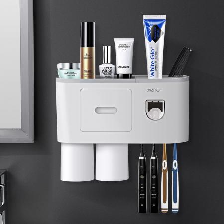 Suport pentru 4 periute de dinti cu 2 pahare magnetice si dispenser pasta de dinti [6]
