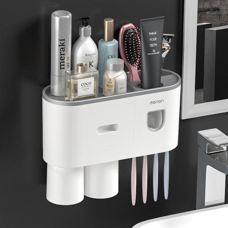 Suport pentru 4 periute de dinti cu 2 pahare magnetice si dispenser pasta de dinti [0]