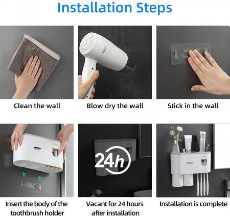 Suport pentru 4 periute de dinti cu 2 pahare magnetice si dispenser pasta de dinti [4]