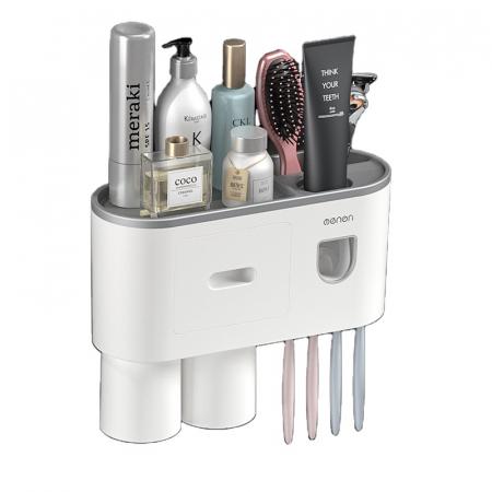 Suport pentru 4 periute de dinti cu 2 pahare magnetice si dispenser pasta de dinti [5]