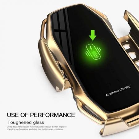 Suport pentru telefon auto A5, cu incarcare wireless si fixare cu senzor, 10W [4]